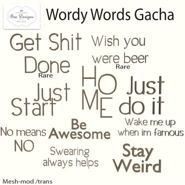 Bee Designs Wordy words gacha