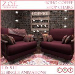 z.o.e. boho coffee shop chairs promo