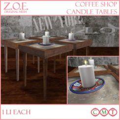 z.o.e. coffee shop candle tables promo